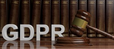 EU General Data Protection Regulation. GDPR and a judge gavel on law books background. 3d illustration. EU General Data Protection Regulation. GDPR and a judge Stock Photo