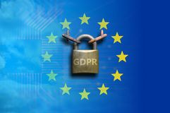 EU General Data Protection Regulation. GDPR and a padlock on European Union flag. 3d illustration. EU General Data Protection Regulation. GDPR letters and a Stock Images