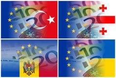 Eu and georgia moldova turkey ukraine flag with euro banknotes Royalty Free Stock Image