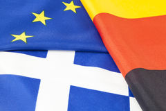 EU, german and greek flag Stock Images