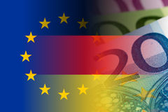 Eu and germany flag with euro banknotes. Mixed image stock illustration