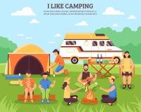 Eu gosto da composição de acampamento Imagens de Stock Royalty Free