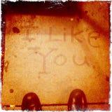 'Eu gosto de você' grafittis do passeio Fotos de Stock Royalty Free