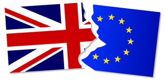 EU and Great Britain Flags. Flag of the European Union and Great Britain torn apart Stock Photography