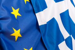 EU and Greece Flags Royalty Free Stock Images