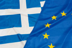 EU and Greece Flags Stock Image