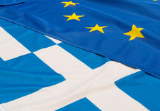 EU and Greece Flags. Close up of flags of European Union and Greece royalty free stock photography