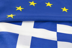 EU and greek flag. Background stock photography