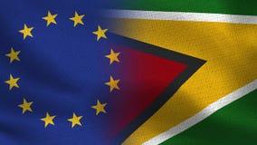 EU and Guyana Realistic Half Flags Together stock image