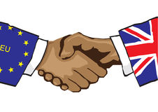 EU Handshake. Vector illustration showing a handshake between the European Union and the United Kingdom Stock Photo