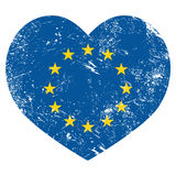 EU, I love European Union heart retro flag Royalty Free Stock Photos