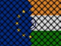 EU Indian interwoven flags illustration. European Union flag and Indian flag interwoven in abstract 3d illustration Stock Photography