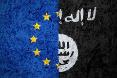 EU and Islamic State of Iraq and the Levant flags Stock Photo