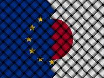 EU Japan interwoven flags illustration. European Union flag and Japanese flag interwoven in abstract illustration Royalty Free Stock Image