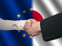 EU Japanese handshake Stock Photography