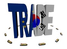 EU Korean trade with ships Stock Image