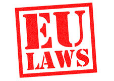 EU LAWS. Red Rubber Stamp over a white background Royalty Free Stock Images