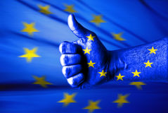 I Like EU. EU likes this concept with thumbs up and EU flag Royalty Free Stock Images