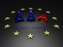 EU Lose AAA credit Rating. Image showing AAA on a black background complete with EU stars and one A fallen over Royalty Free Stock Photos