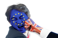 EU man was punched in the face by UK Royalty Free Stock Images