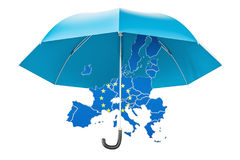 EU map under umbrella. Security and protect or insurance concept. 3D rendering isolated on white background Stock Image