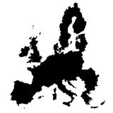 EU map vector. Black silhouette on white background Royalty Free Stock Image