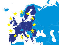 EU members on Europe map. European Union members on Europe map marked with different color Royalty Free Stock Photo