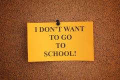Eu não quero ir à escola fotos de stock royalty free