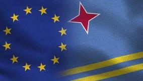 EU och Aruba realistiska halvaflaggor tillsammans royaltyfri illustrationer