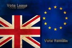 EU- och brittflaggor Fotografering för Bildbyråer
