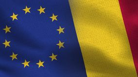 EU och Chad Realistic Half Flags Together stock illustrationer