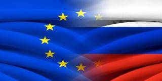 EU och Ryssland Arkivbild