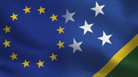 EU och Solomon Islands Realistic Half Flags tillsammans royaltyfri illustrationer
