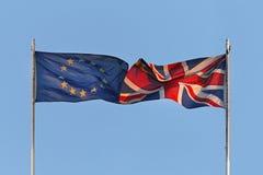 EU- och UK-flaggor Fotografering för Bildbyråer
