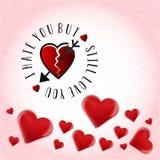 Eu odeio-o mas ainda amo-o Fundo do dia de Valentim ilustração royalty free