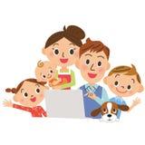 Eu olho um PC dentro, famílias ilustração stock