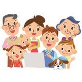 Eu olho um PC dentro, famílias ilustração royalty free
