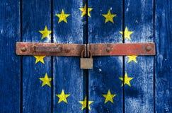 EU padlock. European lock on the door, closure Royalty Free Stock Photos