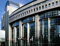 Eu parliament building brussel stock photo