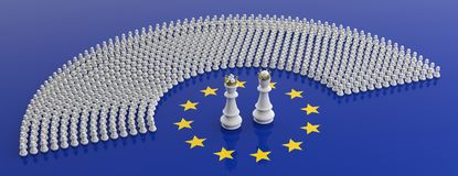 Members of European Parliament as pawns and a chess king and queenon European Union flag. 3d illustration. EU parliament, chess game, Members of European vector illustration