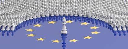 Members of European Parliament as pawns and a chess king on European Union flag, banner. 3d illustration. EU parliament, leadership, Members of European stock illustration