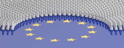 Members of European Parliament as chess pawns on European Union flag. 3d illustration. EU parliament, MEPs as pawns, Members of European Parliament as chess royalty free illustration