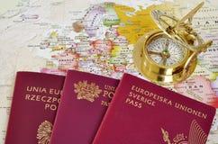 EU passports on a map Royalty Free Stock Photos