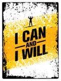 Eu posso e eu vou faz4e-lo Bandeira das citações da motivação do exercício da tipografia do Gym do esporte Conceito forte da insp ilustração do vetor