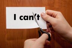 Eu posso motivação do auto - cortando a letra ele da palavra escrita Imagens de Stock