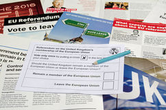 EU Referendum ballot paper and campaign bumpf Royalty Free Stock Photo