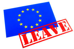 EU Referendum. European Union flag branded with a LEAVE Rubber Stamp in reference to the upcoming referendum on Britains membership to the European Union Royalty Free Stock Photo