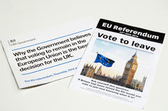 EU Referendum leaflets. LONDON, UK - May 1, 2016:  Leaflets promoting the leave and remain sides of the EU Referendum campaign.  The vote is due to take place on Stock Photo