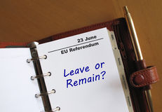 EU Referendum reminder in an organizer Royalty Free Stock Image