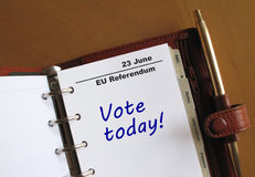 EU Referendum reminder in a personal organizer. EU Referendum 23 June reminder in a personal organizer Stock Image